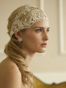 Mariell White Lace Ribbon Wedding Headband With French Netting