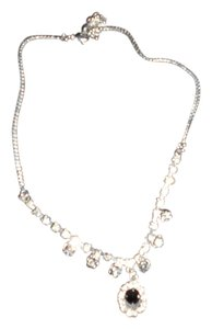 TAUPE AB CRYSTAL BEAUTIFUL TAUPE AB CRYSTAL/BLACK FACETED CENTER STONE NECKLACE