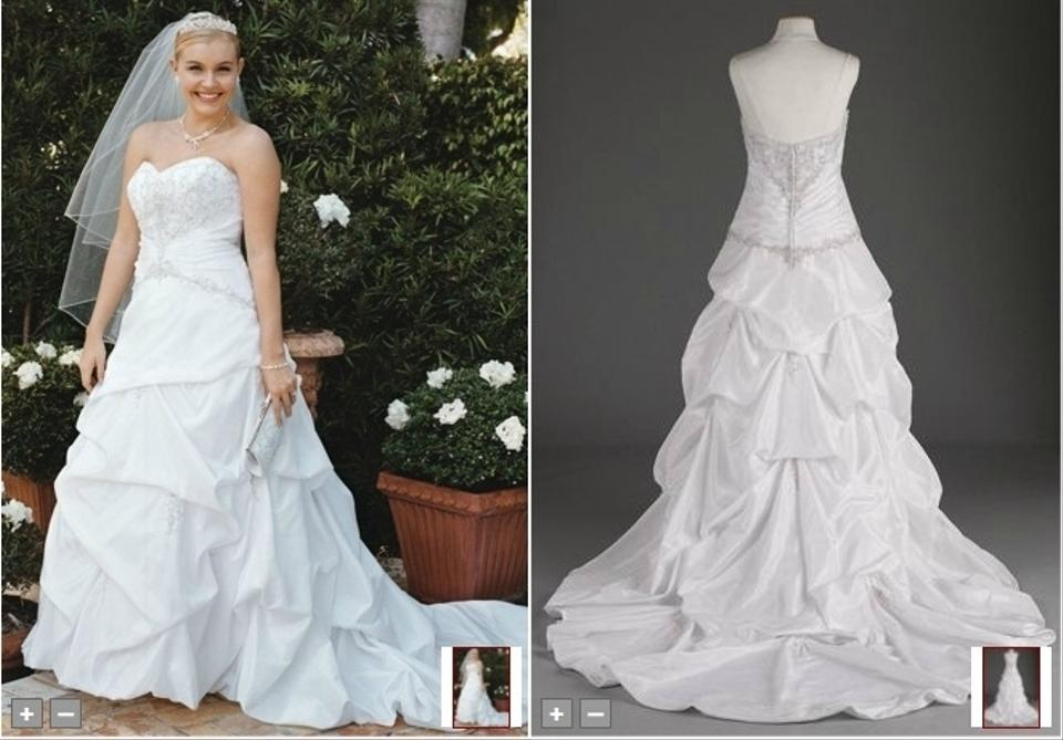 David 39 s bridal strapless sweetheart taffeta pick up style for Pick up wedding dress