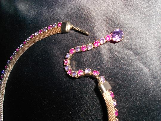 Weiss Furs Lavender & Pink Vtg. Ab Stones In Mesh Choker Necklace