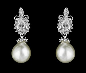 Highest Quality Marquis Shaped Cz And Pearl Bridal Earrings