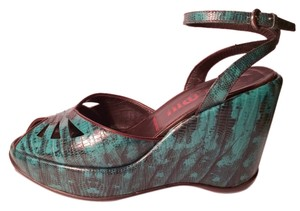 Miu Miu Prada Platforms Jewel Tones Retro Snakeskin Teal Wedges