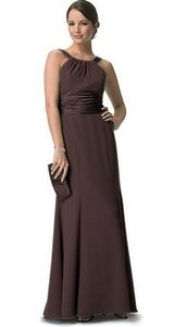 David's Bridal Brown Chiffon And Charmeuse Rounded Neckline Formal Bridesmaid/Mob Dress Size 10 (M)