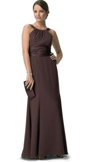 Item - Brown Chiffon And Charmeuse Rounded Neckline Formal Bridesmaid/Mob Dress Size 10 (M)