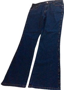 COS Embroidered Rhinestones Boot Cut Jeans-Dark Rinse