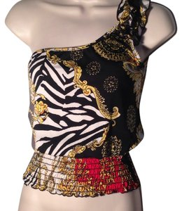 Body Central Top Multi black white red yellow