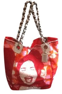 Coach Limited Edition Laughing Girl Tote in Red/Orange/Pink/White