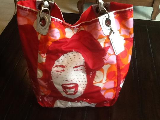 Coach Limited Edition Laughing Girl Designer Satchel Tote in Red/Orange/Pink/White