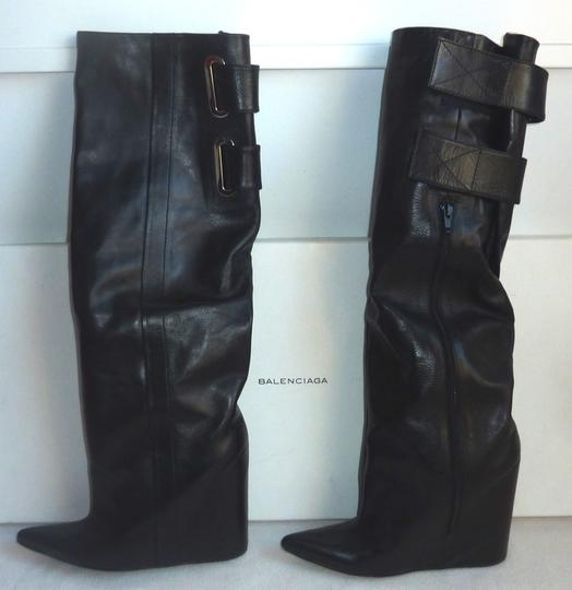 Balenciaga Lea Wedge Leather Wedge Lambskin Silver Hardware Hidden Zipper Buckel Hidden Wedge Pointy Black Boots Image 2