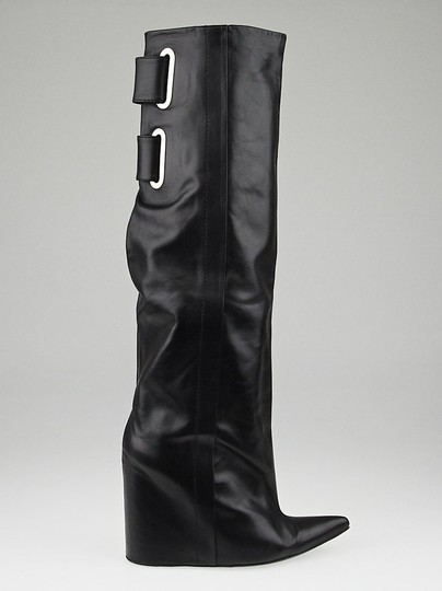 Balenciaga Lea Wedge Leather Wedge Lambskin Silver Hardware Hidden Zipper Buckel Hidden Wedge Pointy Black Boots Image 3