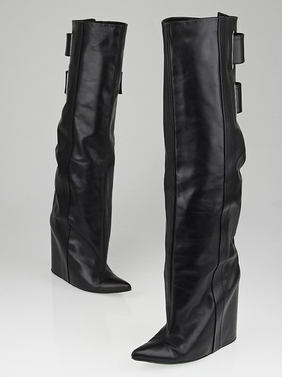 Balenciaga Lea Wedge Leather Wedge Lambskin Silver Hardware Hidden Zipper Buckel Hidden Wedge Pointy Black Boots Image 4