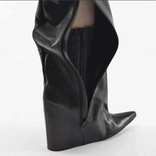 Balenciaga Lea Wedge Leather Wedge Lambskin Silver Hardware Hidden Zipper Buckel Hidden Wedge Pointy Black Boots Image 5