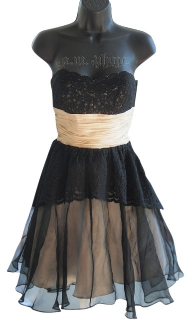 Preload https://item1.tradesy.com/images/betsey-johnson-black-lace-sheer-tea-strapless-sweetheart-knee-length-formal-dress-size-2-xs-723940-0-0.jpg?width=400&height=650