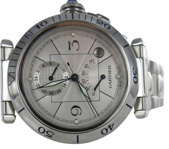 Cartier GENTS CARTIER PASHA STAINLESS STEEL WATCH MENS WITH BOX W31037H3 DUAL TIMEZONE