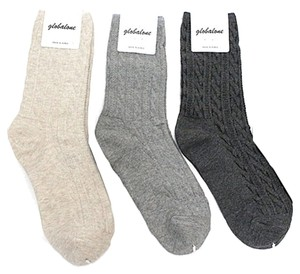 Silver Forest Cable Knit Socks: A pack of 3 pairs