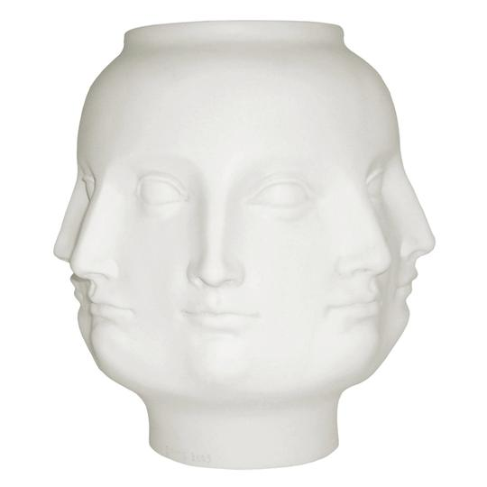 White / Cream Piero Fornasetti Jonathan Adler Style Faces Vase Decoration