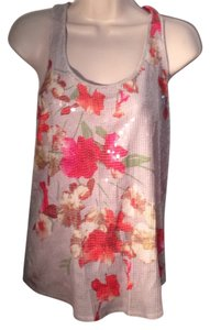 Express Top Grey and fuschia orange floral