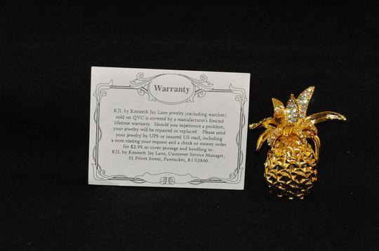 Kenneth Jay Lane Gold Plated Pineapple Brooch W/Clear Crystals On Top Warrenty Card NEW Image 3