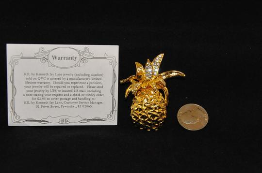 Kenneth Jay Lane Gold Plated Pineapple Brooch W/Clear Crystals On Top Warrenty Card NEW Image 4