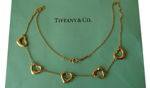 Tiffany & Co. Tiffany & Co 18k Yellow Gold 5 Open Heart Pendant Necklace