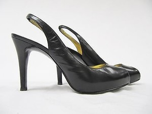 Guess By Maricano Gwmerri Leather Wedge Open Toe Slingback Heels Black Pumps