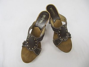Michael Kors South Side High Leather Wooden Heel Brown Mules