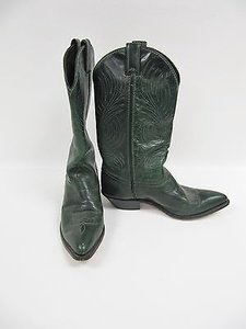 Code West Leather Mid Calf Western Cowboy Green Boots