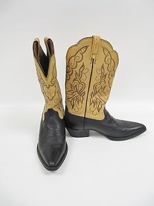 Ariat Tan Two Tone Leather Mid Calf Western Cowboy Black Boots