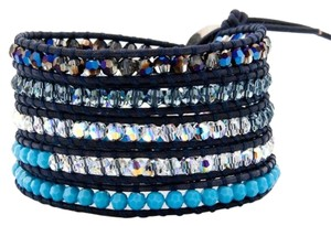 Chan Luu Chan Luu Crystal Metallic Blue Mix Wrap Bracelet on Dark Blue Leather