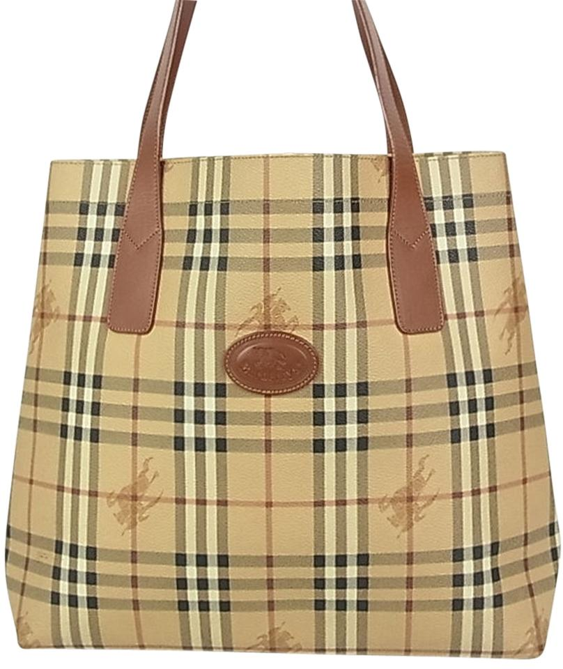 Burberry Nova Check Plaid Pattern Leather Tote F S Shoulder Bag ... 43c1c0f3762fc