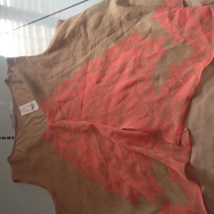 New York & Company And Brand Tags Sleeveless & Top Tan with Orange