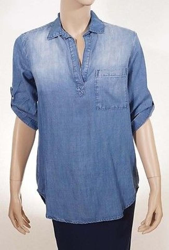 6e3f2bcc118 Cloth & Stone Cloth Stone Womens Blue Denim Chambray V Neck 34 Sleeve Shirt  Top