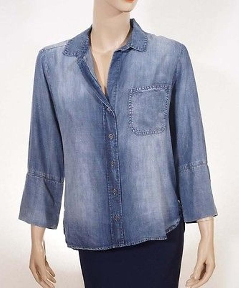 903f06120ef Cloth & Stone Cloth Stone Womens Blue Denim Button Down V Neck 34 Sleeve  Shirt Top
