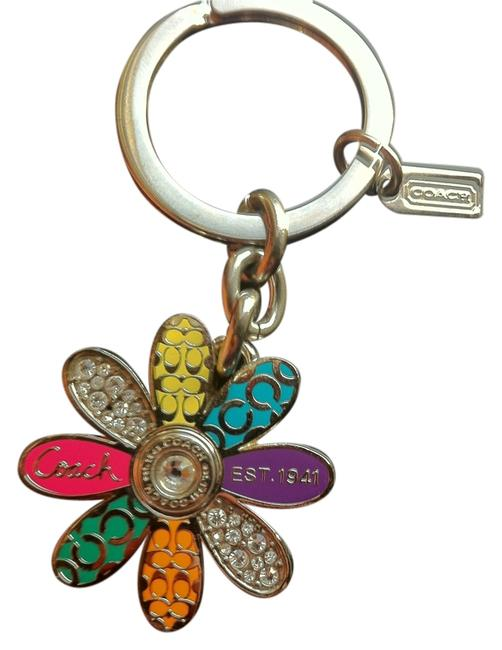 Item - Multicolor Pink Green Orange Purple Blue and Yellow Flower Swarvoski Crystal Purse Charm/Keychain Excellent/Like New Retail Charm