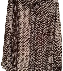 MICHAEL Michael Kors Silk Abstract Triangles Print Top Brown/white