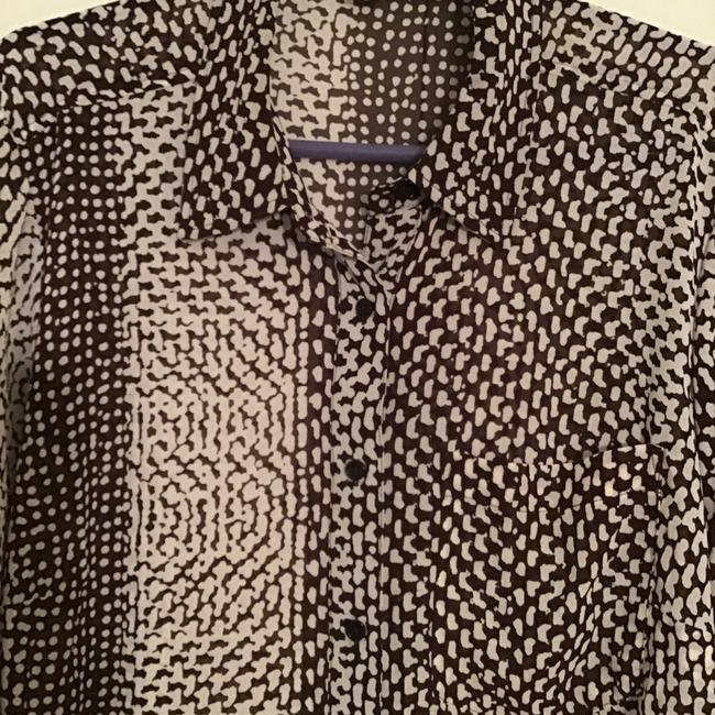 MICHAEL Michael Kors Silk Abstract Triangles Print Top Brown/white Image 1