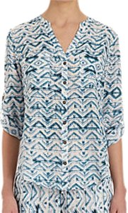 Twelfth St. by Cynthia Vincent Silk Abstract Triangles Print Top Blue/White