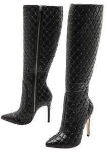 Alice + Olivia Studded Quilted Knee High black Boots