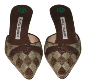 Manolo Blahnik Green and Brown (triangle print) Mules