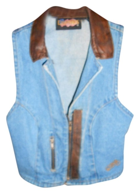Preload https://img-static.tradesy.com/item/724458/blue-denium-with-leather-collar-and-leather-trim-vest-size-8-m-0-0-650-650.jpg