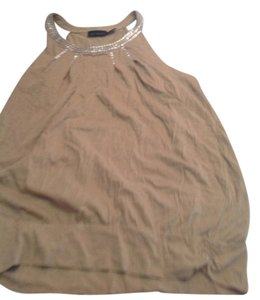 The Limited Style Beige with silver sequence Halter Top