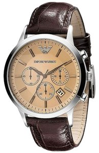 Emporio Armani Emporio Armani AR2433 Brown Leather Champagne Dial Chronograph Mens Watch New In Box