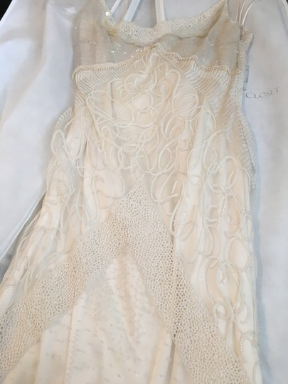 Cream/White Silk Chiffon Beading Peace Modern Dress Size 6 (S)