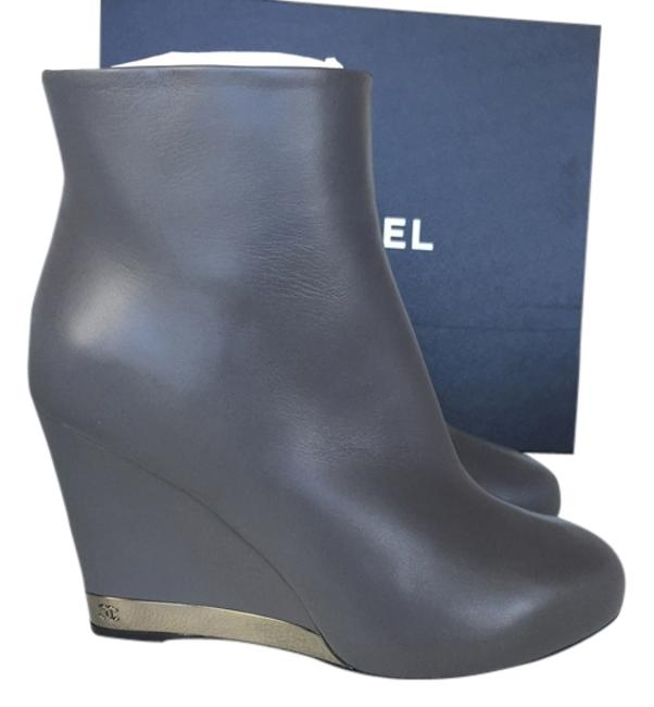 Item - Gray Fw 2015/16 Leather Short Wedge Boots/Booties Size US 8 Wide (C, D)