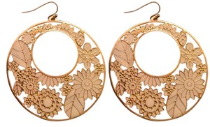 Forever 21 Gold & White Floral Earrings