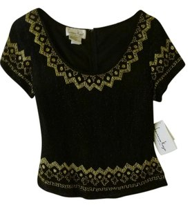 Laurence Kazar Dressy Beaded Silk Top Black and Gold