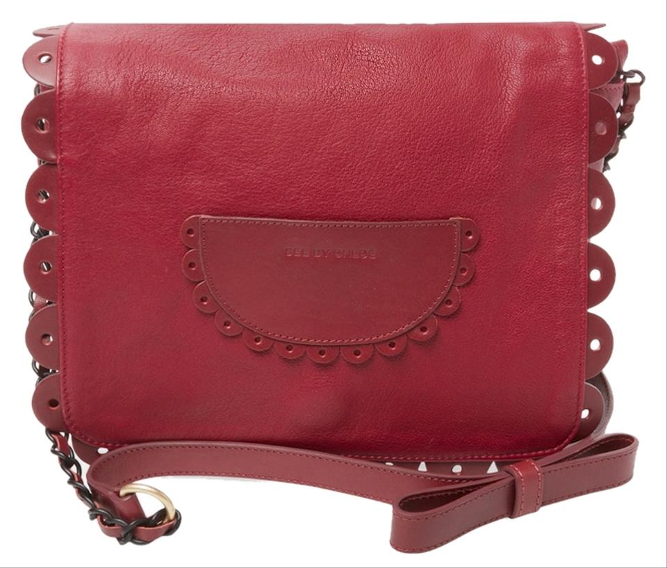 d3acedaadb See by Chloé Poya with Scalloped Edging Burgundy Leather Cross Body ...
