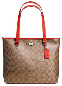 Coach Monogram Signature Canvas Leather Tote in Khaki and Orange