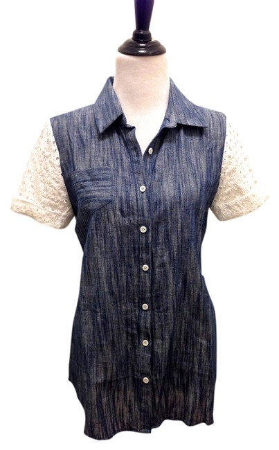 Preload https://item1.tradesy.com/images/pencey-denimwhite-and-shirt-in-button-down-top-size-6-s-724820-0-0.jpg?width=400&height=650