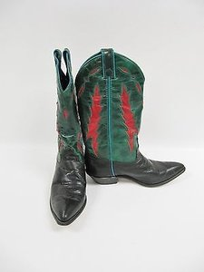 Code West Green Red Leather Multi-Color Boots
